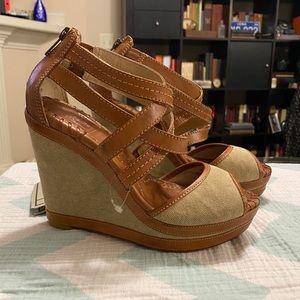 Frye Corrina Cross Stitch Tan Wedge Sandals
